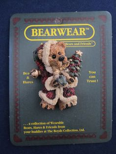 1995 Boyds Bears Bearwear Brooch Pin Elliot with Tree- one of the pins I have.