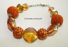 Orange Bracelet  Beaded Bracelet  Glass by TwoFeathersJewelry, $18.00