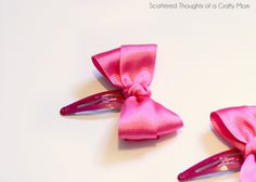 DIY Bow Clips - Great for a little girl's hair.