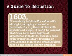 The science of deduction sherlock homes super smart good presentation topic observe mind palace memory palace loci mind map >>>This is really helpful! I do wanna make accurate deductions on people I don't know like Sherlock The Mentalist, Writing Tips, Writing Prompts, Essay Writing, Persuasive Essays, Argumentative Essay, Writing Help, Creative Writing, Writing Corner