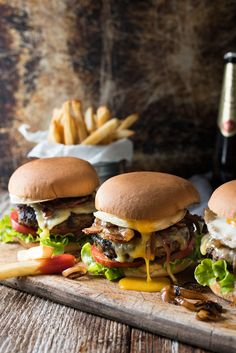 "the-food-porn: "" fattributes: "" Loaded Beef Hamburgers "" Follow us for more awesome food porn! """