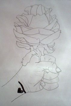 line drawing of my hand. 9th grade