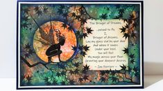 Versafine Clair to stamp and blend with. A poem done by a local Author. Lavinia Stamps, Send A Card, My Glass, Distress Ink, Fairies, Card Stock, Fairy Tales, Birthday Cards, Vintage World Maps