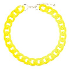 1&20 Blackbirds Neon Yellow Chunky Chain Collar (€9,12) ❤ liked on Polyvore featuring jewelry, necklaces, accessories, yellow, yellow jewelry, chunky chain necklace, yellow chunky necklace, neon yellow necklace and enamel jewelry