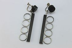 BIG-Vtg-Modernist-MILTON-CAVAGNARO-Sterling-Silver-EBONY-WOOD-Statement-Earrings