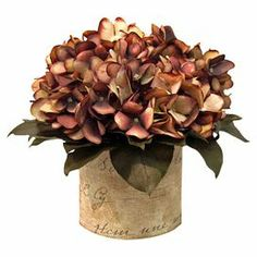 """A lovely addition to your hallway console table or dining room table, this faux hydrangea arrangement showcases silk petals in a linen-wrapped glass vase.    Product: Faux floral arrangementConstruction Material: Silk, linen and glassColor: Brown, green and linenFeatures: Includes faux hydrangeas in linen wrapped glass vaseDimensions: 8"""" H x 8"""" DiameterNote: Suitable for indoor use only"""