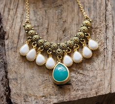 Unique Gold Bib Statement Necklace with Turquoise and White Jewels.  Statement Necklace. Teal White Statement Necklace.