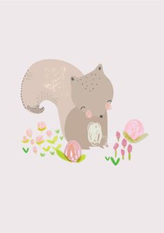 This is Gold - Aless Baylis for Menudos Cuadros #squirrel #spring #illustration #floral #menudoscuadros