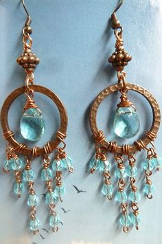 Copper and Blue Wirewrapped Earrings by beadifulexpressions, $22.00