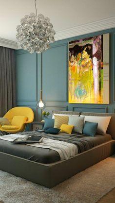 chambre à coucher très stylé, nuances du vert et du gris égayées par le jaune, coussin jaune moutarde