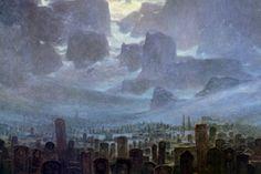 """""""ZdzisławBeksiński (1929-2005) fue un pintor Polaco y una figura icónica del arte contemporáneo Polaco. Esta galería de pinturas, de sus periodo """"fantástico"""" incluye bastantes paisajes abandonados y con neblina. La inmensidad de sus paisajes contrasta con la clara alusión a la mortalidad y finalidad de sus obras, forzando al espectador a dudar su la muerte es realmente el final."""""""