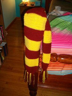 Gryffindor scarf I crocheted. Relatively simple.