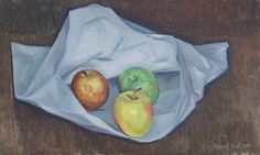 """Clifford Hall """"Still Life with Fruit"""" aka 'Three Apples', oil on panel, 9.5""""x 15.75"""",signed and dated 1938."""