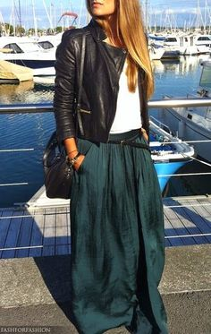 Loving this look. leather jacket with deep sea green skirt. i die : Loving this look. leather jacket with deep sea green skirt. i die Mode Outfits, Casual Outfits, Fashion Outfits, Womens Fashion, Look Fashion, Autumn Fashion, Street Fashion, Trendy Fashion, Looks Party