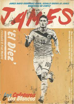 Affiche football vintage de Zoran Lucic, James Rodriguez Football Art Print