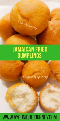 "These crispy and perfectly soft Jamaican Fried Dumplings are the perfect comfort food for every Jamaicans. It is also called ""Johnny Cakes"". Jamaican Cuisine, Jamaican Dishes, Jamaican Recipes, Jamaican Desserts, Guyanese Recipes, Churros, Jamaican Fried Dumplings, Jamaican Breakfast, Jamacian Food"
