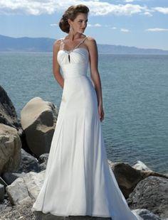 (NO.004370)Empire Spaghetti Straps Court Trains Sleeveless Satin Beach Wedding Dress For Brides