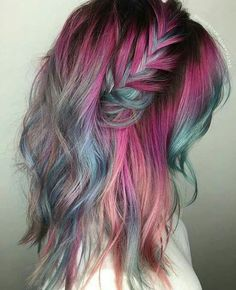 Bold Color Pink Purple Green Braid Wave Long Hair