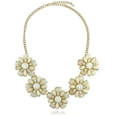BERRICLE Gold-Tone Resin Flower Fashion Bib Statement Necklace ($29) ❤ liked on Polyvore featuring jewelry, necklaces, base metal alloy, statement necklace, white, women's accessories, anniversary jewelry, bib necklace, white statement necklace and flower jewelry