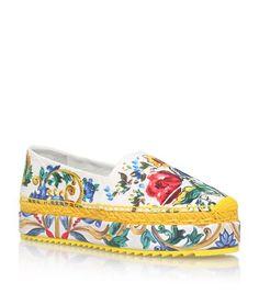 DOLCE & GABBANA Majolica Brocade Platform Espadrilles. #dolcegabbana #shoes #
