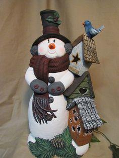 Ceramic Bisque Snowman W Five Deer Amp Sleigh Ready To