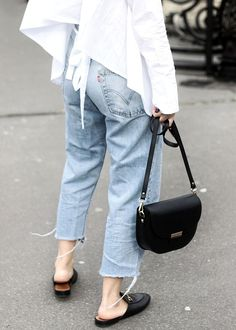 What to wear for a walk around Paris Notre Dame? Levi's 501 Vintage Jeans, open-back ruffle shirt, Gucci Princetown Slipper & Celine bag lookalike by Camelia Roma.