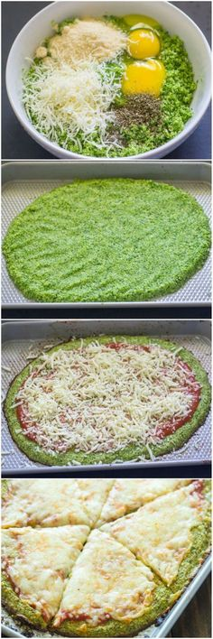 Low Carb Recipes You've seen cauliflower crusted pizza, but have you tried broccoli? - Healthy homemade broccoli crust pizza is gluten-free and low-carb and Gluten Free Recipes, Low Carb Recipes, Vegetarian Recipes, Cooking Recipes, Healthy Recipes, Dishes Recipes, Recipes Dinner, Recipies, Meal Recipes