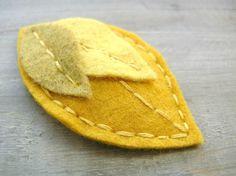 Yellow Leaf Felt Clip Woodland Hair Accessory by OrdinaryMommy on Etsy. $10.00, via Etsy.