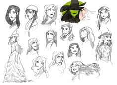 I had a night and a new pen to figure out Elphaba. I don't think I did. Wicked Musical, Musical Theatre, Broadway Wicked, Broadway Plays, Dear Evan Hansen, Character Concept, Character Design, Defying Gravity, Hamilton