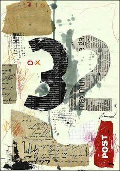 Cadeau Fine Art PRINT - abstrait mixte collage dessin peinture par M. E.Ologeanu
