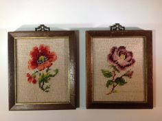 Vintage Pair of Floral Needlepoints with Asian Style Hangers