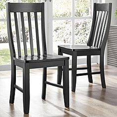 @Overstock - Add a dose of modern elegance to your dining area with this pair of elegant side chairs from Roman. These slat back side chairs are made of durable Asian rubberwood.http://www.overstock.com/Home-Garden/Roman-Black-Slat-back-Chairs-Set-of-2/5171782/product.html?CID=214117 $164.99