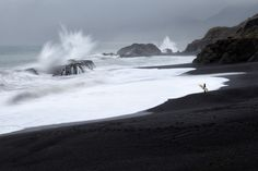 """""""Black sand beaches make amazing contrast with the white ocean including this one near Shelter Cove, California. Casey McCallister"""