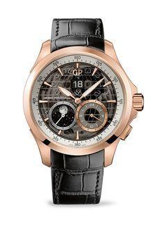 Quién.com : Los relojes que todo hombre debe tener. El reloj Traveller Large Date, Moon Phases & GMT de oro rosa de Girard-Perregaux es de las mejores inversiones que harás.