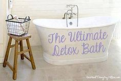 2 c Epsom salt (add 1 c for every 50 lbs you are over 100 lbs), 2 c baking soda, 1/3 c ground ginger -Your choice of mint, herbs, or essential oils.  Add all of those things (or your favorite) into a hot bath as it is running, and swish it around until it is as dissolved as possible. Jump in and enjoy. Be warned though...you WILL sweat, and quickly. The more ginger you use, the more you will sweat, and you can expect some pink skin within just a few minutes. Soak for at least 45 minutes