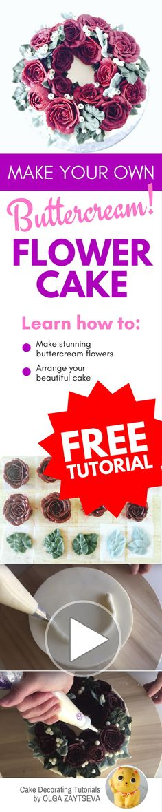 How to make Buttercream Red Roses Flower Wreath cake - Cake decorating tutorial by Olga Zaytseva. Learn how to pipe buttercream roses and create this quick and easy flower wreath cake in red. #cakedecorating #cakedecoratingtutorial #buttercreamflowercake #buttercreamflowers
