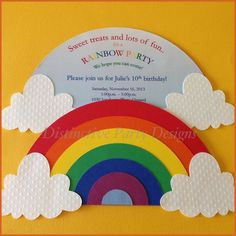 Party invitations for a Rainbow themed birthday party. Designed and created by D… Party invitations for a Rainbow themed birthday party. Designed and created by Distinctive Party Designs. Rainbow Unicorn Party, Rainbow Birthday Party, Rainbow Theme, Unicorn Birthday Parties, Rainbow Colors, Rainbow Birthday Invitations, Party Invitations Kids, Birthday Invitation Templates, Invitation Ideas