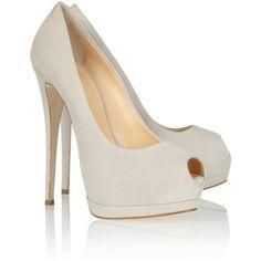 Giuseppe Zanotti Suede peep-toe pumps ($695) ❤ liked on Polyvore