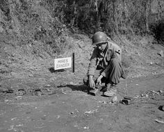 """An engineer of the Reconnaissance Company, US Cavalry Division sets the fuses on a """"Daisy Chain"""" of light anti-tank mines, northwest of Yonchon, Korea 10 Nov Afghanistan War, Iraq War, Positive Images, Man Up, Military Art, Military History, Korean War, American War, United States Army"""