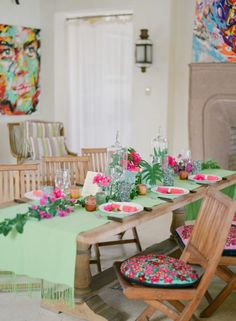 Absolutely love this pink and green dinner party set up!