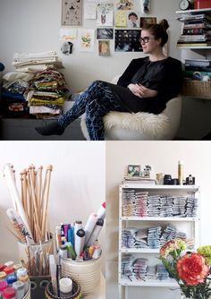 Sandra Juto in her illustration and crochet studio