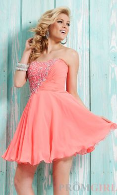 Prom Dresses, Evening Gowns at PromGirl: Short Strapless Homecoming Dress