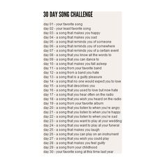 30 Day Song Challenge Days 1-5 ❤ liked on Polyvore featuring challenges, words, quotes, text, backgrounds, fillers, phrase and saying
