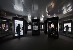 Inside the exhibit, visitors are immersed in a film and interactive experience across 40 oversized digital screens that display how technology can improve our daily lives and transform the way we live. Interactive Exhibition, Exhibition Display, Exhibition Space, Museum Exhibition, Interactive Design, Interactive Touch Screen, Interactive Media, Museum Displays, Digital Signage