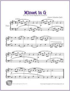 Minuet in G (Major) Bach | Sheet Music for Piano - http://makingmusicfun.net/htm/f_printit_free_printable_sheet_music/minuet-in-g-major-piano.htm