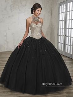 - Tulle quinceanera ball gown with halter jewel neck line, beaded bodice, basque waist line, bead embellished skirt, and back with lace-up closure. Sweet 16 Dresses, 15 Dresses, Ball Dresses, Fashion Dresses, Formal Dresses, Sweet Dress, Pageant Dresses, Black Quinceanera Dresses, Black Wedding Dresses
