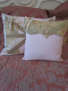 Pillow with contrasting flap  button