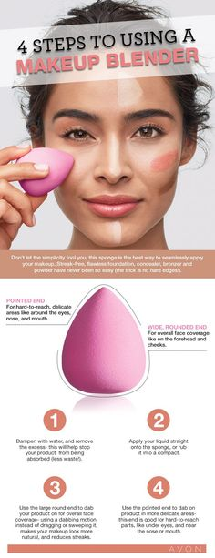 HOW TO: Use a Makeup Blender Sponge What is a makeup blender sponge? The teardrop shaped makeup blender sponge is a makeup sponge used to blend to help create a more airbrushed effect, without the airbrush! Avon Pro Flawless Makeup A… Diy Beauty Blender, Beauty Blender Sponge, Makeup Blender, Blender Hair, Beauty Blender Tutorial, Beauty Sponge, Contour Makeup, Flawless Makeup, Beauty Makeup