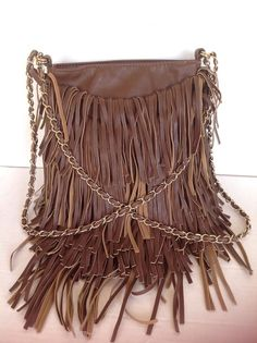 Ecote Fringed Bag Crossbody Hip Bohemian Hip Gold Chain Designer Fashion Chic  #Ecote #MessengerCrossBody