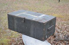 Vintage Wood Military Trunk Footlocker WW II 1940s Olive Green Black Coffee Table panchosporch #bestofEtsy #gifts